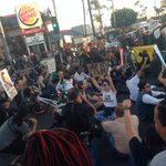 """""""Shut it down for Mike Brown"""" crowd chanted as they closed the intersection of King Blvd and Western Ave in south la http://t.co/9hKw0JYVt7"""