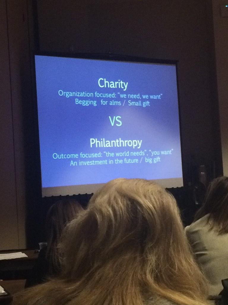 Let's move from CHARITY to PHILANTHROPY. Charity is about the nonprofit. Philanthropy, about community. #afpcongress http://t.co/WwlBnISNqN