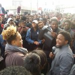 Spanky Edwards 14 leads a chant during the march/rally @CNN Center. http://t.co/YvcMinbVAj