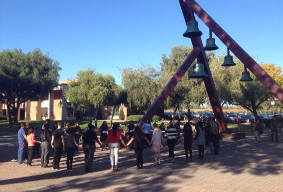 Happening now at the Bell Tower: prayers for healing, reconciliation and #Ferguson. http://t.co/30k7sGpKPt