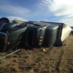 Semi rollover NB I-25, just south of Windsor Exit - Semi in the center median and all lanes are open #9News http://t.co/JVIUFbNLcc