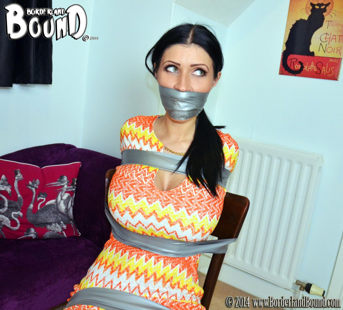 BorderlandBound (@Borderland7): #Gorgeous @Lillyroma1 is left #tapebound & #gaggedup #HARD at home! Will she escape?? #probablynot #butmuchfuntowatch http://t.co/2ItoZ6l5Zv