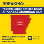 Breaking: Federal judge strikes down Arkansas #MarriageEquality Ban. Stay tuned to http://t.co/Wp22lmegcY http://t.co/0BCgKvxgCm