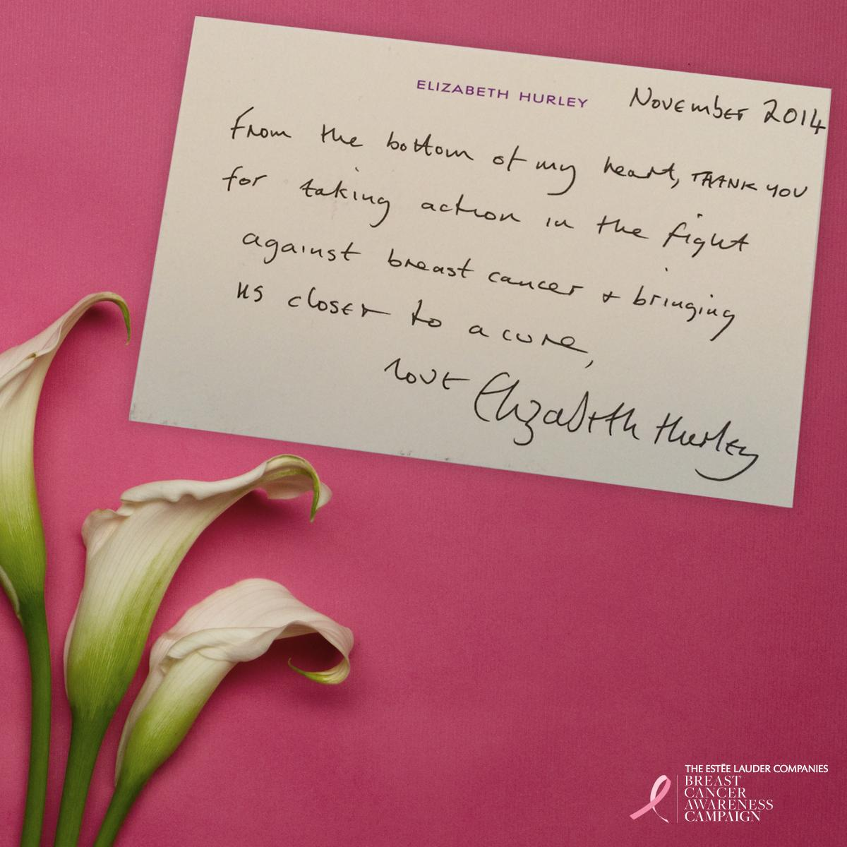 Elizabeth Hurley @elizabethhurley: RT @BCAcampaign: A note of thanks from our Global Ambassador @ElizabethHurley. #BCAstrength http://t.co/xLEpDdvyH9