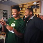 Rashard Higgins with @CoachWhitted as he called his mom to tell her he is a finalist for @biletnikoffawrd! #CSURams http://t.co/qpZTwDDwPx