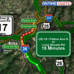 26 EB in #Asheville STILL congested. Speeds have been under 20 MPH since 5PM today @WLOS_13 http://t.co/Q2diPpjaYf