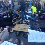More than 200 protesters shut down Crenshaw and MLK Blvds in South LA, which is also dubbed Freedom Square http://t.co/mBwP3MZlZf