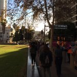 """Group of about 30 moves from federal courthouse toward LAPD HQ, chanting """"hands up, dont shoot"""" http://t.co/PNXizixA5B"""