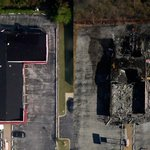 Tuesday photos show the aftermath of rioting in #Ferguson compared to earlier Google images: http://t.co/qqaPuF2biT http://t.co/1GJX6HY5U4