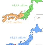 Tweeter @rolo_5 found two ways to split Japans population into two, geographically: http://t.co/OzuMUHiwV7