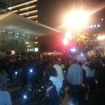 Peaceful protest in front of LAPD headquarters #Ferguson #peacefulprotest http://t.co/TRlGeRqhZQ