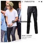 """Harry wore $439.95 Saint Laurent """"wax denim jeans"""" while arriving at the airport in Sydney - 11/26/14. http://t.co/VfDKgJ24oo"""