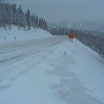 Wintry commute over Monarch Pass this evening. CDOT image looking east toward the ski area just before dark.#cowx http://t.co/GG2yXJOE3x