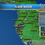 """A reminder...Flood Watch in effect, especially for areas north, 5"""" of rain being reported there. Drier Wed. http://t.co/MPrJZ0xS8p"""
