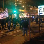 """Crowd just marched past on Edgewood Avenue shouting """"no justice no peace"""" as well as profanity toward police. #wsbtv http://t.co/kYdorr71f5"""