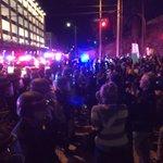 LAPD has blocked the protestors at Hope. Crowd now heading back toward Figueroa. #FergusonDecision #LA http://t.co/hQCWaiGab9