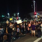 Demonstrators shut down Figueroa and Pico. Crowd is growing larger. http://t.co/7lw0EWc3O2