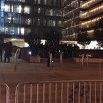 Los Angeles police officers ready outside of downtown headquarters as #Ferguson protesters on the way http://t.co/RMlEZiISHv