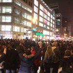 NYC takeover. Cars are honking. Protestors chanting. Mic check. Band is playing. This is a rainbow crowd. #ferguson http://t.co/5vBk6RQepF