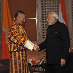 PM @narendramodi and PM @tsheringtobgay meet in Kathmandu. http://t.co/7wGgW5MhIy