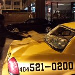 Wow. What a night. #Atlanta #Ferguson protesters taking to the streets for hours tonight. Photo of damaged cab. http://t.co/gJJ7txdUH0