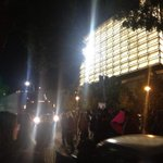 """Large semi forced to reverse into intersection after crowd at Grand and Temple block his turn. """"Hold the line!"""" http://t.co/OfGvrRhX7C"""