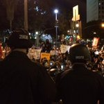 Ferguson protesters marched thru downtown LA to LAPD headquarters (pic via @nerissaknight) http://t.co/5lQe9Nrxc8 http://t.co/50QLa3Pxrn