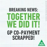 BREAKING! Together we did it. The Federal Government has scrapped the toxic $7 GP co-payment - Team RDN http://t.co/jkQyqNU5q7