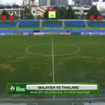 Due to rainfall & lightening, the start of the Malaysia v Thailand match has been delayed #AFFSuzukiCup #MALvTHA http://t.co/LoJ9WRxXEM