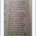 Brilliant piece re the england vs Germany ladies game that took place recently http://t.co/cnVnYoqMm6