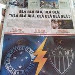 Em Minas não se fala de outra coisa a não ser COPA DO BRASIL. O resto do mundo que se dane! https://t.co/Set88sO4tJ