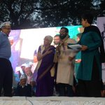 #WomenDialogue : Mrs. Lalita Ramdas and Mr. Prashant Bhushan felicitate Alok who has worked for acid attack victims. http://t.co/0y78OHkhb5