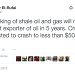 @elrufai warned about the US shale oil and impending decrease in oil price back in 2012. As usual, they abused him. http://t.co/uSO0BZqWkM