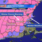 Winter Storm Warning thru tonight for areas in pink: heaviest snow N&W of I-495... A messy mix closer to Boston #wcvb http://t.co/DvXVzYflp0