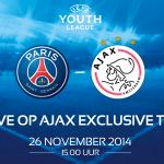 #Ajax A1 begint om 15:00 uur aan het #UYL-duel met PSG. Bekijk het LIVE via: http://t.co/jBfvvEPXXY #psgaja