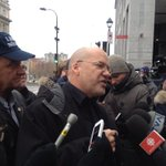 "Union leader Marc Ranger calls @DenisCoderre ""Mr. Selfie"" as blue collar workers protest outside #Montreal city hall. http://t.co/3CVJF6X4i5"