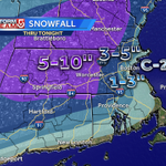 ICYMI Heres our latest snowfall forecast...Leaning toward lower end of range inside I-495 with more sleet/rain #wcvb http://t.co/0O4YMIHRbX