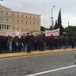 Student protest has now reached the parliament. #syntagma #athens #greece http://t.co/dWg6Pgw8gI