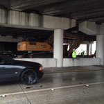 A semi pulling a crane has hit the I-275 overpass on S Dale Mabry. 1 lane of Dale Mabry open, traffic slow. #wtsp http://t.co/4qScktVaLP