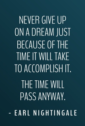 Never give up on a dream just because of the time it will take to accomplish it. The time will pass anyway. http://t.co/RD9REY9nhJ