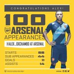 Congratulations to @Alex_OxChambo who makes his 100th @Arsenal appearance tonight #AFCvBOR http://t.co/2p0arBrkXg