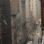 Snowing now in NYC! 34 degrees with #snow @reedtimmerTVN http://t.co/Dfd2C6G5Zx