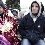 Day 3 hunger strike, day 8 sit-in #syrianrefugeesgr Meanwhile @AthensMayor preperares a Xmas tree, just beside them http://t.co/DvcjEtuJMl