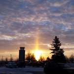 Sundog this morning! Photo taken by Nikki Jean at Hector International Airport in Fargo. #ndwx #mnwx @fargoairport http://t.co/qrOoqVtzNk