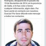 Hola @yuyudecai ayuda porfa ha desaparecido en provincia de Cadiz el hermano de un amigo. Retuit por favor. Gracias http://t.co/CzfODfFBKy