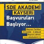 SDE ve İlim Yayma Cemiyeti Kayseri Ortaklığında SDE Akademi Kayseri programımız başlıyor @Birol_Akgun http://t.co/GMBB4o07nv