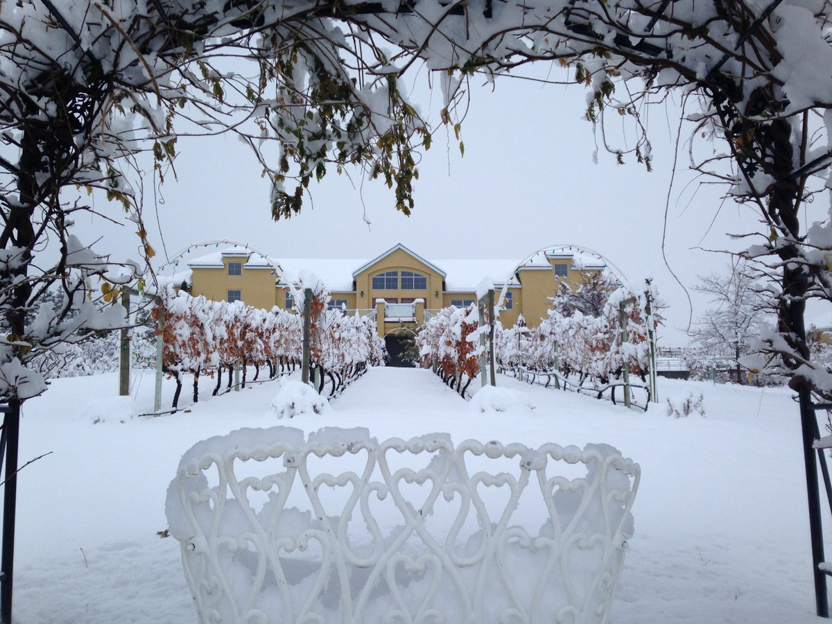 It's a winter wonderland here. Just in time for #WinterinWineCountry this weekend! #BCWine http://t.co/njwMNBkgtD