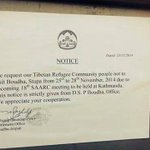 """SAARC Rules: """"strict order"""" by Nepal govt tells Tibetan refugees not to go to the Buddhist stupa in Ktm during #SAARC http://t.co/GqwlWUnIO6"""
