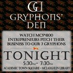 Gryphons Den TONIGHT! In the Library from 5:30pm–7:30pm! @mjdelia @UoGBusiness @MCS_Guelph @CBaSE_UoG @UofGuelphCECS http://t.co/aAbmYV1qxQ
