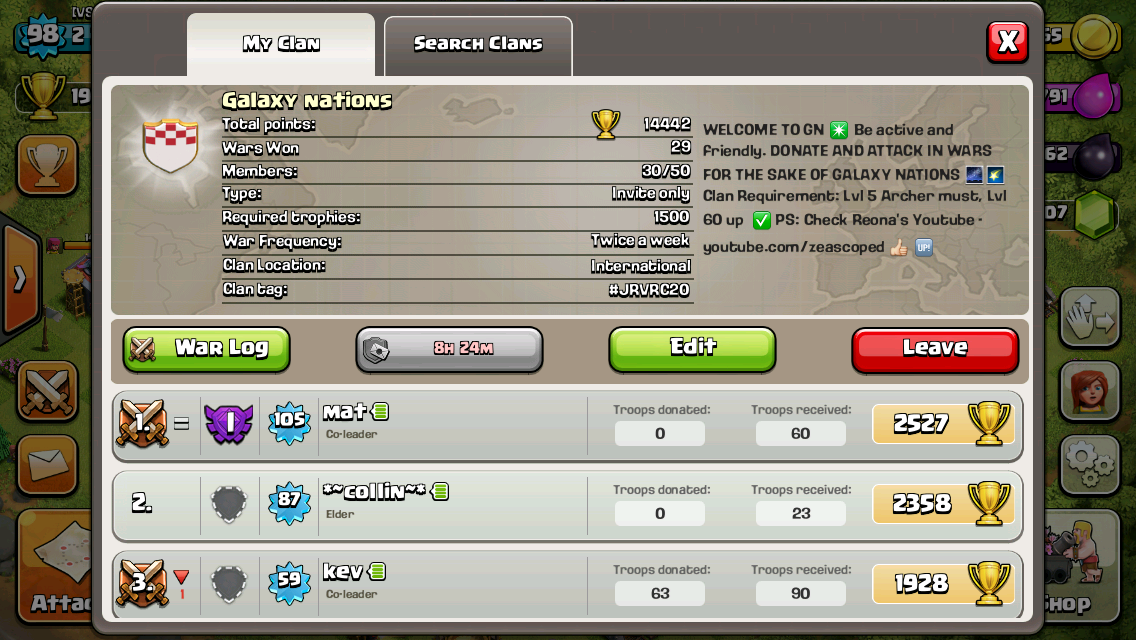 If you're looking for a war clan. Join us, our members are chill & friendly. Request if you are lv60+
